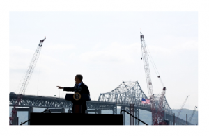 Official White House Photo by Pete Souza-President Barack Obama delivers remarks on infrastructure near the Tappan Zee Bridge, at the Washington Irving Boat Club in Tarrytown, New York, May 14, 2014. Construction on the new Tappan Zee bridge can be seen adjacent to the current bridge.