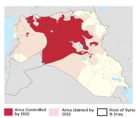 Photo Credit: Wikipedia - Territorial control of the ISIS as of 13 September 2014.
