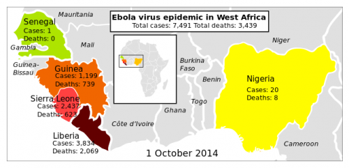 Photo Credit: Wikipedia - Situation map of the Ebola virus epidemic in West Africa as of 1 October 2014.