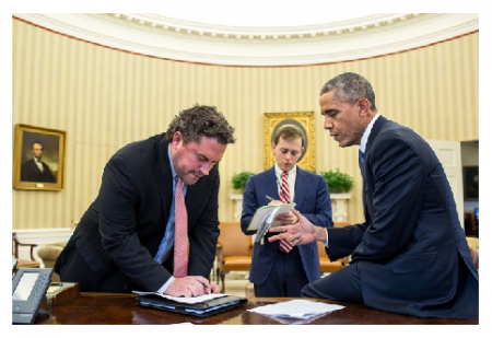 Photo Credit: The White House - President Barack Obama works with Director of Speechwriting Cody Keenan and Senior Presidential Speechwriter David Litt in the Oval Office.