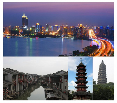 Photo Credit: Wikipedia - Landmarks of Suzhou — top: View of sunset in the center of Suzhou from Jinji Lake; middle left: Shantang Canal; center: Beisi Pagoda; middle right: Yunyan Pagoda in Tiger Hill.
