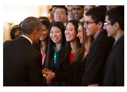 Photo Credit: Official White House Photo by Pete Souza- President Barack Obama greets the 2015 Intel Science Talent Search finalists.