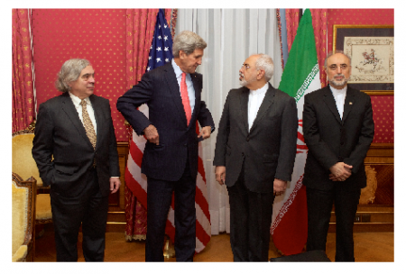 Photo Credit: Wikimedia Commons - U.S. Secretary of State John Kerry and Energy Secretary Moniz with Iranian Foreign Minister Zarif and Vice President of Iran for Atomic Energy Salehi, Lausanne, Switzerland on March 16, 2015