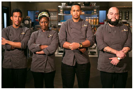 Photo Credit: Twitter.com/Andre Fowles (second right) with his competitors on the Food Network's Chopped.