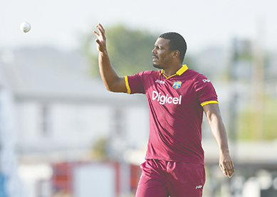 Shannon Gabriel during Match 8 of the Ballr Cup Tri-Nation Series between Australia and West Indies at Kensington Oval, Bridgetown, Photo WICB Media