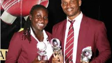 West Indies Cricketers of the Year, Stafanie Taylor (left) and Marlon Samuels (right) Photo courtesy of WICB Media