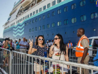 Photo credit: Donald De La Haye - Cruise visitors disembark the MS Monarch, which docked at the Port of Kingston this morning (December 6) with 2,700 passengers on board