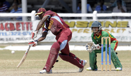Fabian Allen drives down the off side Photo credit: WICB