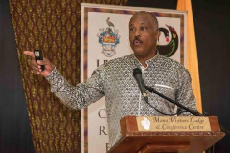 Vice chancellor, University of the West Indies, Professor Sir Hilary Beckles, speaking on the topic 'Faked Emancipation, Insincere Independence, Reparatory Justice: A 21st-century Paradigm for Economic Growth' at a symposium held at Mona Visitors' Lodge, University of the West Indies, on October 11. (Photo: JIS)