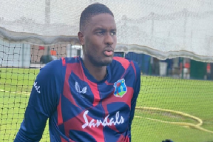 Windies captain Jason Holder sporting the new training kit from Castore during training